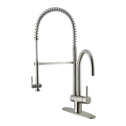 Vigo - Stainless Steel Pull-Down Spray Kitchen Faucet with Deck Plate - This stylish and durable faucet is sure to give your kitchen sink a new look