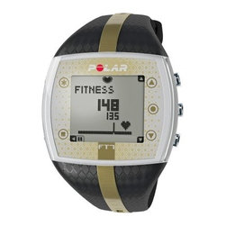 Polar FT7 Womens Black/Gold Heart Rate Monitor Watch - EnergyPointer function helps you target the desired effect of your workout - fat burning or improved fitnessGraphical display shows whether your workout is more effective at burning fat or improving fitness so you can adjust accordinglyRead your heart rate in beats per minute or a percentage of maximumRecords both your average heart rate and your maximum heart rate achieved during your workoutPlays visual and audible alarm when you're outside your preset target zoneManually set your maximum heart rate and target zoneShows total calories burnedTraining load assessment available from Polar's personal training site. Monitoring your training load helps you determine personal limits and avoid over- or under trainingHolds 99 training files with summaries, recording training data starting from your last reset so you can follow your long-term trainingStores weekly history so you can review your training data for the weekGraphical indicator gives you easy, one-glance display of your target zone and current intensity levelHeartTouch function provides button-free operation so you can get training information while wearing gloves or otherwise unable to conveniently press buttonsCoded transmission prevents interference from nearby devices; your monitor will only receive information from your Chest transmitterCan also be worn as a watch with backlight, date and weekday indicator, dual time zones, low battery indicator, and time of day displayed in 12- or 24-hour formatKeyLock prevents accidental button presses during trainingDisplay can be set to English, German, Finnish, Swedish, French, Portuguese, Spanish, or ItalianUser-replaceable batteryWater resistant to 30 metersManufacturer's warranty included - see Product Guarantee area for complete detailsAbout Polar ElectroTrue expertise in sports, physiology, and electronics has helped Polar Electro maintain leadership in sports technology and heart rate monitors since 1977. Their products help you understand what your body is saying in order to effectively target workouts. These products cater to people of all fitness levels, and are backed by Polar's stellar support and advice. They can help you improve your sports performance, aid rehabilitation and weight management, or just help you enjoy a healthier lifestyle. Polar's team of ambitious and talented professionals are passionate about delivering the very best products and support to their customers. It is this passion that has made Polar Electro a success.