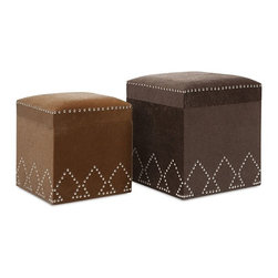 IMAX - McDonald Nailhead Ottomans - Set of 2 - Cover a pair of ottomans with faux fur in mocha and espresso, mix in decoratively arranged silver nail heads, then sit back and put your feet up with a tasty shot of cowboy chic