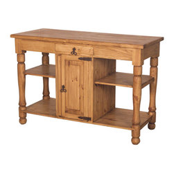 Rustic Pine Kitchen Island - Spanish colonial design on this Solid wood, 2-sided buffet.