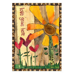 """Westland - """"Love Grows Here"""" Quote Multicolored Canvas Flowered Wall Art - This gorgeous """"Love Grows Here"""" Quote Multicolored Canvas Flowered Wall Art has the finest details and highest quality you will find anywhere! """"Love Grows Here"""" Quote Multicolored Canvas Flowered Wall Art is truly remarkable."""