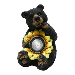Alpine - Set of 4 Black Bear with Solar Sunflower Garden Statue - These cute black bear statuaries will add character to your garden, patio or home. Simply place in your garden and let it charge in the day and watch as it illuminates at night bringing life into your garden.Features:Dimensions: