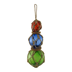 Zeckos - String of Nautical Roped Glass Buoys - Ahoy Add a finishing touch to your nautically themed decor inside your home, or outdoors on your porch or patio. This string of glass buoys is 11 inches long, and the buoys graduate in size from 2 1/4 to 4 1/2 inches in diameter. Jute rope keeps the floats in place, and cork discs separate them.