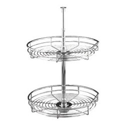 """D-shaped Chrome Tray Set - Individual - Tray Diameter 20"""" Interior Height Required 26"""" - 32"""".  Brilliant chrome gives your kitchen an elegant touch. These sets come with chrome wire trays. Advantages and benefits .  Independently pivoting trays provide easy access to stored items.. A stylish chrome finish keeps your kitchen gleaming.. Large-diameter trays let you get the most out of your storage space.. Versatile function: can be used for food storage or to organize dishes and cookware.Included Product(s) . 2 chrome wire trays. Telescoping shaft. Mounting hardware"""