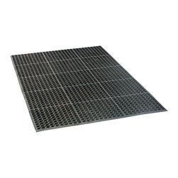 Buffalo Tools - Buffalo Tools 3 x 5 Foot Industrial Rubber Floor Mat - 3 x 5 Foot Industrial Rubber Floor Mat by Buffalo Tools Anyone who has stood on a hard concrete floor for  longer than a few minutes will tell you how hard the surface can be on your feet, knees and back. Reduce the fatigue and soreness with the Buffalo Tools Industrial Rubber Floor Mat. The 3 by 5 foot flexible Rubber Mat is 1/2 inch thick, giving you a large area to work on with plenty of cushion. The non-slip surface gives you more traction when grease and other liquids get spilled. Just spray it clean with a hose or power washer when it gets dirty. You can even use the Rubber Mat to provide cushion and a non-slip surface in the bed of your truck.1/2 inch thick rubber reduces foot, knee and back fatigue in the shop or garage Keeps items from rolling and slipping in the truck bed Use in the entryway or commercial kitchen to provide traction in slippery conditions. Flexible, super durable non-skid padded material absorbs shocks. Perforated surface lets grime and liquids flow through for easy cleaning and drainage.