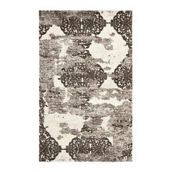 Safavieh - Retro Brown/Gray Area Rug RET2866-1379 - 8' x 10' - Safavieh channels the Sixties with Retro Shag, a cool new spin on the essential floor covering of mid-century modern style. The perfect complements to clean-lined furniture of the period, these chic black and white designs morph into tones of gray, silver and ivory in patterns from Pollack-inspired abstracts to contemporary graphics. Machine-loomed in Turkey of 100 percent polypropylene, our low-pile Retro Shag rugs combine beauty, easy care and outstanding performance.