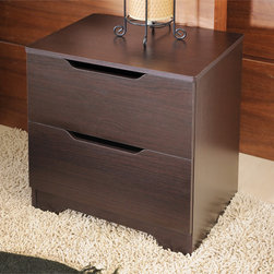 Furniture of America - Furniture of America Kari Modern Knobless 2-drawer Walnut Finish Nightstand - Add additional storage to your bedroom with this small two-drawer nightstand. This modern nightstand is made of MDF and wood veneers, which makes it durable and strong. The stand has an attractive walnut finish that increases its visual appeal.