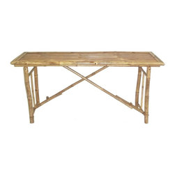 "Bamboo54 - Bamboo Long Folding Table - This long folding bamboo table is great for the outdoors and indoors. Makes a great picnic table, buffet table or any other way you see fit. Folds away flat for easy storage when not in use. Relatively lightweight yet strong, this table measures 28"" H x 63""L x 20"" D . Made from strong bamboo from Vietnam. Pairs splendidly with our # 5209 folding bench to make a eco friendly picnic set."