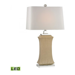 Dimond - One Light Cream Crackle Off White Faux Silk Shade Table Lamp - One Light Cream Crackle Off White Faux Silk Shade Table Lamp