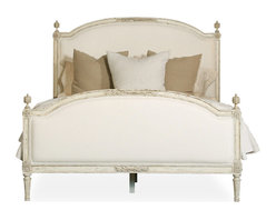 Eloquence - Dauphine French Country Weathered White Linen Upholstered Bed - King - Luxurious style should be enjoyed by all, and what better place to start than with your own bed. This French royal-inspired bed will be the jumpstart to your newfound comfort. But be warned: Once you've slept in the lap of luxury, you'll never want to go back.