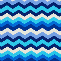 Blue and White Contemporary Chevron Outdoor Indoor Upholstery Fabric By The Yard - This upholstery fabric suitable for indoor and outdoor applications. The fabric is water, soil, mildew and fading resistant. It is also Scotchgarded for further protection. It is cleanable with warm water and soap. Uniquely Made in America!