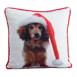 Lava - Holiday Brown Dachshund 16X16 Decorative Pillow (Indoor/Outdoor) - 100% polyester cover and fill.  Suitable for use indoors or out.  Made in USA.  Spot Clean only