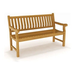 AquaTeak - 5' SOLID TEAK OUTDOOR BENCH - FROM THE AQUA ROSE COLLECTION - This gorgeous 5-foot outdoor bench from the Aqua Rose Collection combines classic style and versatility to provide the perfect patio seating option. This teak bench was handcrafted using sustainably harvested, naturally water resistant teak wood, making it ideal for use either indoors or outdoors. Used as a patio bench, outdoor garden bench, decorative indoor bench, or more, you are sure to love your new Aqua Teak product! Your Aqua Teak bench comes with a 30 day satisfaction guarantee and 5 year warranty. (Some assembly required)