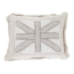 Kathy Kuo Home - Bingsley British Industrial Frayed Linen Union Jack Decorative Pillow - This handmade linen pillow combines country charm with English elegance. Filled with feathers and down, this posh pillow depicts the British flag with varying textures and frayed detail. The natural, ivory linen lends lovely, laid-back comfort to this casual cushion. The cover is removable for easy cleaning.