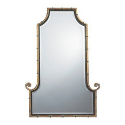 Himalaya Iron Mirror - 29W x 42H in. - The Himalaya Mirror is an epic designer accent for your walls. Matching the grandeur of its name the Himalaya Mirror has antique gold finished iron rods shaped like bamboo outlining the frame. A black inner lip accentuates the gold and sparkling beveled glass. The Himalaya Mirror is a great Asian-inspired piece that will definitely be a powerful accent in your design scheme.Here's what you need to know to hang your new Uttermost Mirror. Hanging a mirror even if it is a large heavy piece is not a problem if you have the right hanging hardware and a hammer. The best hanging hardware for most walls is the J-hook. It is designed to keep the nail that goes into the wall at a sharp angle so that even in drywall it will stay in place. It is important that the J-hook be properly weighted for the item you want to hang. On all Uttermost products the proper J-hook and nails are included to make sure you have exactly the hardware you need for hanging each piece. On the largest Uttermost mirrors we provide a self-leveling adjustable J-hook. With this hardware even if the item is slightly uneven the hangers can be adjusted without moving the nails from the wall.About UttermostThe mission of the Uttermost Company is simple: to make great home accessories at reasonable prices. This has been their objective since founding their family-owned business over 30 years ago. Uttermost manufactures mirrors art metal wall art lamps accessories clocks and lighting fixtures in its Rocky Mount Virginia factories. They provide quality furnishings throughout the world from their state-of-the-art distribution center located on the West Coast of the United States.