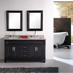 Double Sink Bathroom Vanity - Design Element Hudson 60 Inch Double Sink Bathroom Vanity