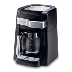 Delonghi - Auto Drip Coffee Maker - 12 Cup Program Carafe - The DeLonghi DCF2212T 12-Cup Drip Coffee Maker with Complete Frontal Access allows you to easily fill the water tank and ground coffee filter without moving the unit. Open the door using the handle, pour water in the channel and put grounds in the coffee filter. This coffee maker features a programmable timer with 2 hour automatic shutoff and a water level indicator to let you know when the unit needs refilling. An aroma button activates a unique brewing process that enhances the flavor and aroma of your coffee. This special time-released process saturates grounds a little at a time to extract the best flavor and aroma from your coffee.12-cup (60 ounce) capacity|24-hour programmable timer with 2-hour automatic shut-off|Complete frontal access|Internal water level indicator|Permanent gold-tone filter specifically designed to keep the finest grounds out of your coffee|Aroma button activates unique brewing process|Pause and serve function|Non-stick warming plate|900 watts|Cup storage tray; Cord storage keeps power cord out of harms way|  delonghi| dcf2212t| 12-cup drip coffee maker| coffee maker| 12 cup| drip| coffee| maker| timer| frontal access  Package Contents: coffee maker|glass carafe|measuring spoon|golf tone filter|manual|warranty  This item cannot be shipped to APO/FPO addresses