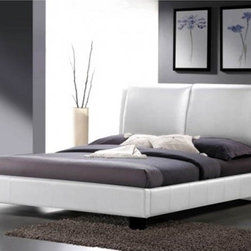Wholesale Interiors - Sabrina White Modern Bed with Overstuffed Headboard - King - Contemporary platform bed (requires only a mattress; wooden slats included)