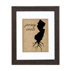 Fiber and Water - Jersey Roots Art - Proud of your roots? Then let them show! This clever silhouette printed on natural burlap gives an earthy, nostalgic shout-out to your native soil. It comes ready to hang in a matching distressed black wood frame and contrasting white matte.