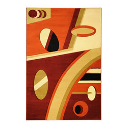 Ottomanson - Multi-Color Contemporary Abstract Design Rug - Moderno Collection offers a wide variety of machine made modern design hand-carved area rugs with high, durable, stain-resistant pile in trendy colors.