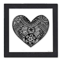 Heart Pen & Ink - Print of the original Heart pen and ink drawing by Pamela Corwin. The tiny intricate patterns in each of Pam's pen & inks create beautiful detailed graphic designs. Framed in a classic black frame and available in two sizes, this handsome print will fit in any room. They look great in sets of two or three.