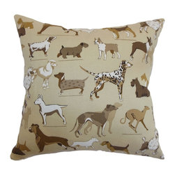 "The Pillow Collection - Wonan Dogs Print Pillow Toast 20"" x 20"" - Decorate your living room, playroom or guest room with this animal print pillow. Dogs of all breeds and sizes are printed on a toast colored background. This accent pillow is an unconventional statement piece for your sofa, bed or chair. Pair this square pillow with other animal prints for a zoo-inspired decor style. This 20"" pillow is crafted from 55% soft cotton and 45% high-quality linen fabric. Hidden zipper closure for easy cover removal.  Knife edge finish on all four sides.  Reversible pillow with the same fabric on the back side.  Spot cleaning suggested."