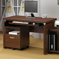 Coaster - Oak Transitional Desk - Clean lines and functionality describe this home office group. The top desk features a keyboard tray and pairs perfectly with the matching computer stand. Bookcase or mobile file cabinet.