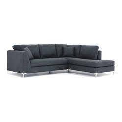 Apt2B - Mulholland 2-Piece Sectional Sofa - Add a bit of retro Hollywood glam to your space with this sleek and sophisticated sectional. It has a streamlined design that provides the perfection foundation for you to layer on the color and pattern with throws and pillows.