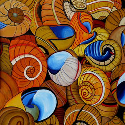 Sea Harvest Artwork - A 16X20 inch acrylic on canvas paper painting of seashells.