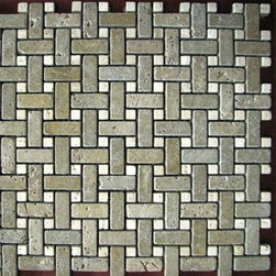 1 in. x 2 in. Noce Tumbled Basketweave Pattern Mesh-Mounted Travertine Mosaic Ti - 1 in. x 2 in. Noce Mesh-Mounted Basketweave Pattern Travertine Mosaic Tile with Beige Travertine Dot Inserts is a great way to enhance your decor with a traditional aesthetic touch. This Tumbled Mosaic Tile is constructed from durable, impervious Travertine material, comes in a smooth, unglazed finish and is suitable for installation on floors, walls and countertops in commercial and residential spaces such as bathrooms and kitchens.