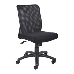 "Boss Office Products - Boss Office Mesh Task Chair in Black - Boss Office Products-Office Chairs-B6105-Mesh back designed to prevent body heat and moisture build up. Breathable mesh fabric seat with ample padding. Upright locking position. Adjustable tilt tension control. Pneumatic gas lift seat height adjustment. 25"" nylon base. Hooded double wheel casters."