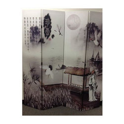 ORE International - Poet's Dream Chinese Painting Room Divider - Four panel divider. Create privacy and add touch of home decor with classic Asian landscape and narrative painting theme divider. Each individual folding panel spanning up to 16 in. and can be rotated up to 270 degrees. Can be easily folded flat into the size of one panel with the thickness no larger than 4.25 in.. Easy to clean. Sturdy wooden frame. Warranty: 30 days. Made from canvas fabric. Faded white and beige color. Made in Vietnam. Assembly required. 64 in. L x 1 in. W x 71 in. H (30 lbs.)The ambience of this room divider is must have for any ancient Asian art fans.