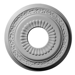 """Ekena Millwork - 20 5/8""""OD x 6 1/4""""ID x 1 3/8""""P Lauren Ceiling Medallion - 20 5/8""""OD x 6 1/4""""ID x 1 3/8""""P Lauren Ceiling Medallion. Our ceiling medallion collections are modeled after original historical patterns and designs. Our artisans then hand carve an original piece. Being hand carved each piece is richly detailed with deep relief, sharp lines, and a truly unique touch. That master piece is then used to create a mould master. Once the mould master is created we use our high density urethane foam to form each medallion. The finished look is a beautifully detailed, light weight, solid construction, focal piece. The resemblance to original plaster medallions is achieved only by using our high density urethane and not vacuum formed, """"plastic"""" type medallions. - Medallions can be cut using standard woodworking tools to add a hole for electrical or a ceiling fan canopy. - Medallions are light weight for easy installation. - They are fully primed and ready for your paint. If you have any questions feel free to ask. These are in stock and available for immediate shipment."""