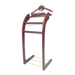 Proman Products - Proman Products Windsor Signature Valet in Dark Mahogany with Brass Hardware - Windsor signature valet dark mahogany with brass hardware, built in tie rack, detachable hanger for easy access. One of the most elegant looking valets in the market.