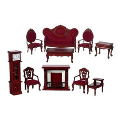 Mahogany Victorian Living Room Dollhouse Miniature Set - The Mahogany Victorian Living Room Dollhouse Miniature Set is ideally suited to traditional-style dollhouses with deep rich colors and ornate detailing. Everything you need to create a historically accurate welcoming living room is right here. This 10-piece set with 1-inch scale includes a stately fireplace 2 armchairs with open carved backs 2 arm chairs with mirror backs a 2-tiered end table sofa coffee table and elegant grandfather clock. Crafted from beautifully carved durable wood these pieces feature a classic Mahogany finish and vibrant crimson-colored upholstery. This exquisite set is suitable for use in collector dollhouses. As it includes small pieces it's not recommended for children under the age of 13.