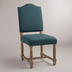 World Market - Teal Blue Maddox Chairs, Set of 2 - With a camelback profile, our Teal Blue Maddox Chairs exude a classic elegance. Enlarged nail head detail, a whitewashed acacia wood frame and neutral upholstery add to their timeless look.