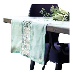Vintage Maya - Victorian Crochet Table Runner - Teatime beckons with this Victorian inspired table runner. Delicate cotton crochet and a hint of mint-colored linen provide the perfect focal point for your rustic farmhouse style table.