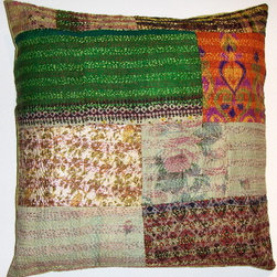 patchwork vintage sari kantha pillow covers - face: 100% silk, patchworked from vintage saris.