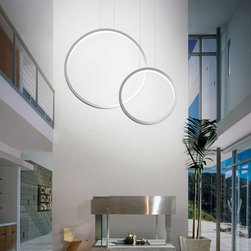 Lightology Collection - Assolo LED Pendant - Assolo LED Pendant features an indirect light source that projects a pattern of counterbalanced semi-circles once the lamp has been switched on. Available in White finish. Available in two sizes. Both sizes include dimmable ballast and 27 watt 2800K LED, 3000 lumens. Dimensions: Small: 16.9 inch diameter x 59 inch maximum overall height. Large: 27.6 inch diameter x 157.5 inch maximum overall height.