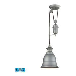 Landmark Lighting - Landmark Lighting Farmhouse 65080-1-LED Aged Pewter Pendant - LED Offering Up To - 65080-1-LED Aged Pewter Pendant - LED Offering Up To 800 Lumens belongs to Farmhouse Collection by Landmark Lighting Inspired By Antique Lighting, This Series Recalls Turn-Of The Century Design Where Simple Aesthetics And Mechanical Function Combined To Create Charming, Yet Versatile Fixtures. These Classic Pull-Downs Have A Decorative Weight That Counterbalances The Fixture For Easy Height Adjustability Anytimeby Simply Pulling Down Or Lifting Up On The Fixture. - LED Offering Up To 800 Lumens (60 Watt Equivalent) With Full Range Dimming. Includes An Easily Replaceable LED Bulb (120V). Pendant (1)