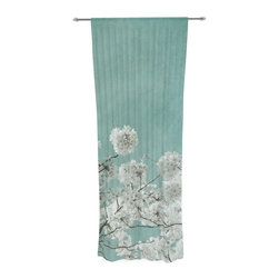 "Kess InHouse - Iris Lehnhardt ""Flowering Season"" Teal White Decorative Sheer Curtain - Let the light in with these sheer artistic curtains. Showcase your style with thousands of pieces of art to choose from. Spruce up your living room, bedroom, dining room, or even use as a room divider. These polyester sheer curtains are 30"" x 84"" and sold individually for mixing & matching of styles. Brighten your indoor decor with these transparent accent curtains."
