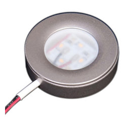 Task Lighting Corp. - Sempria LED Puck Light, Satin Nickel, 3000 Kelvin - These may be surface mounted or recessed and last up to 50,000 hours. Puck Lights are available in four colors and in light temperatures of 2700 Kelvin (warm white), more of a yellow tone spectrum, or 3000 Kelvin (neutral white). 4 watts per unit. You will need to order the appropriate driver, 6 watt, 16 watt, 24 watt or 25 watt for the total wattage of all units you are driving.  Click on Sold By Lumens Lighting & Power LLC and search for Sempria Drivers in our products.