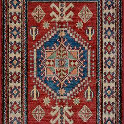 "ALRUG - Handmade Rust Oriental Kazak Rug 2' 10"" x 4' 2"" (ft) - This Afghan Kazak design rug is hand-knotted with Wool on Cotton."