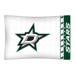 Sports Coverage - NHL Dallas Stars Microfiber Pillow Case - Officially licensed NHL Dallas Stars Microfiber coordinating pillow case to match Comforters, Pillow sham, Bedskirts and Draperies. The Pillowcase only has a white-on-white print and the officially licensed team name and logo printed in team colors. Made from 92 gsm microfiber for extra stability and soothing texture and is 100% Polyester. Wrinkle resistant and stain-resistant. Get your NHL Pillow Case Today.  Today.   Features:  -  92 gsm Microfiber,   - 100% Polyester,    - Machine wash in cold water with light colors,    -  Use gentle cycle and no bleach,   -  Tumble-dry,   - Do not iron,   - Pillow case Standard - 21 x 30,