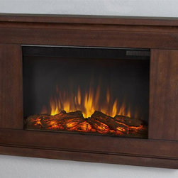 Real Flame - Wall Hung Electric Fireplace - Includes mantel, firebox with remote control, wall mounting bracket, anchoring hardware. Transitional styling. Plugs into any standard outlet. 1400 watt heater. Rated over 4700 BTUs per hour. Programmable thermostat with display in fahrenheit or celsius. Ultra bright LED technology with five brightness settings. Digital readout display with up to nine hours timed shut off. Dynamic ember effect. Plugs into any standard wall outlet. UL and ISTA 3A certified. Warranty: Ninety days on mantel and one year on electric firebox. Made from solid wood, veneered MDF and powder coated steel. Vintage black maple finish. Assembly required. 38.4 in. W x 6.1 in. D x 26.1 in. H (48.5 lbs.)The Jackson wall fireplace is the next generation of electric fireplace.