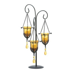 Dynasty Tall Wrought Iron Trio Votive Stand - Dynasty Tall Wrought Iron Trio Votive Stand