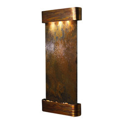 Adagio Water Features - Inspiration Falls Wall Fountain, Rustic Copper, Rajah Slate, Rounded Frame - Comes complete with polished river rock, halogen lighting, and electric pump.