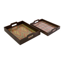 Imax - iMax Zyanya Trays - Set of 2 X-2-63196 - With printed mendong grass interiors, this set of two Zyanya trays feature unique pattern and a glass insert. Comes in small and large stackable set.