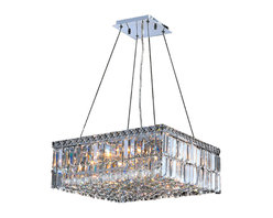 """Worldwide Lighting - Cascade 12 Light Chrome Finish and Clear Crystal 20"""" Square Chandelier Medium - This stunning 12-light Crystal Chandelier only uses the best quality material and workmanship ensuring a beautiful heirloom quality piece. Featuring a radiant chrome finish and finely cut premium grade clear crystals with a lead content of 30%, this elegant chandelier will give any room sparkle and glamour. Dual-mount option for flush or suspension. Worldwide Lighting Corporation is a privately owned manufacturer of high quality crystal chandeliers, pendants, surface mounts, sconces and custom decorative lighting products for the residential, hospitality and commercial building markets. Our high quality crystals meet all standards of perfection, possessing lead oxide of 30% that is above industry standards and can be seen in prestigious homes, hotels, restaurants, casinos, and churches across the country. Our mission is to enhance your lighting needs with exceptional quality fixtures at a reasonable price."""