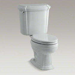 KOHLER - KOHLER Portrait(R) two-piece elongated 1.6 gpf toilet with Ingenium(R) flush tec - The Portrait collection draws its inspiration from the understated sophistication of French Provincial design. With its sculpted lines and soft edges, this Portrait toilet reflects the contours found in traditional furniture yet is versatile enough to fit many bathroom styles. The two-piece toilet comes with an insulated tank liner to help prevent condensation, as well as an elongated bowl for exceptional comfort. And with a 1.6-gallon flush setting, this toilet delivers outstanding performance.